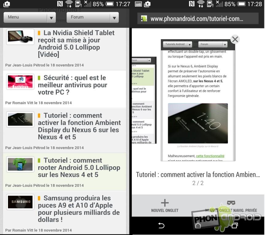 Test HTC Desire Eye navigateur web intégré