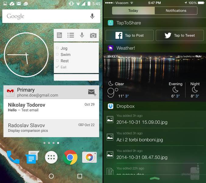 Android 5.0 Lollipop iOS 8