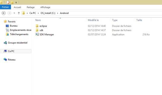 Android 5 avec le SDK Manager sur PC