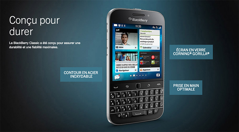 blackberry classic fiche technique