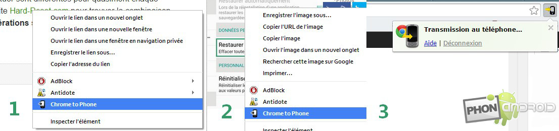 exemples chrome to phone