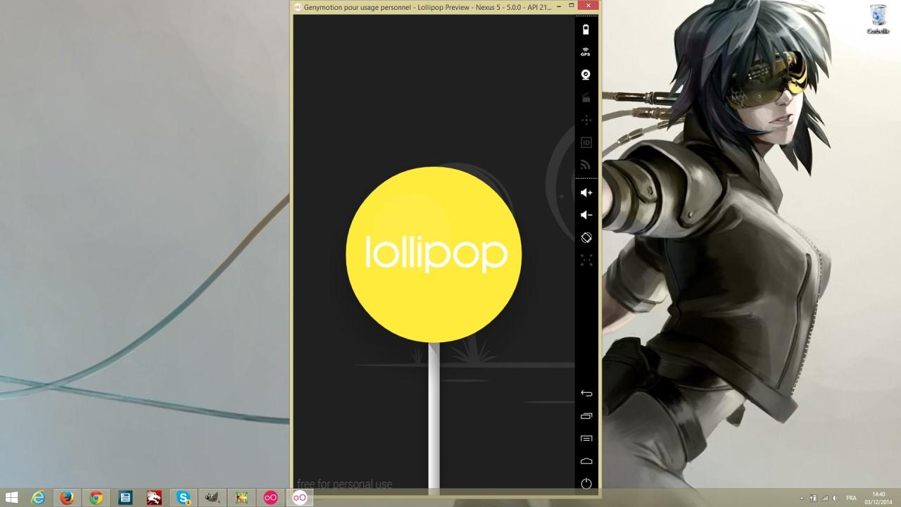 Genymotion avec émulation de Android Lollipop