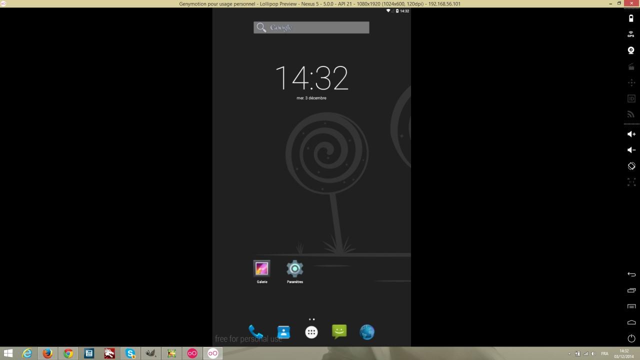 Genymotion avec Android Lollipop au lancement
