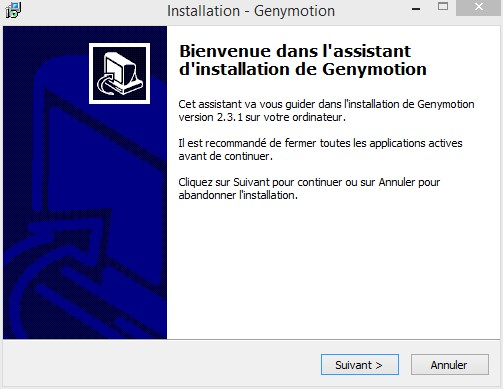 Genymotion installation sous windows