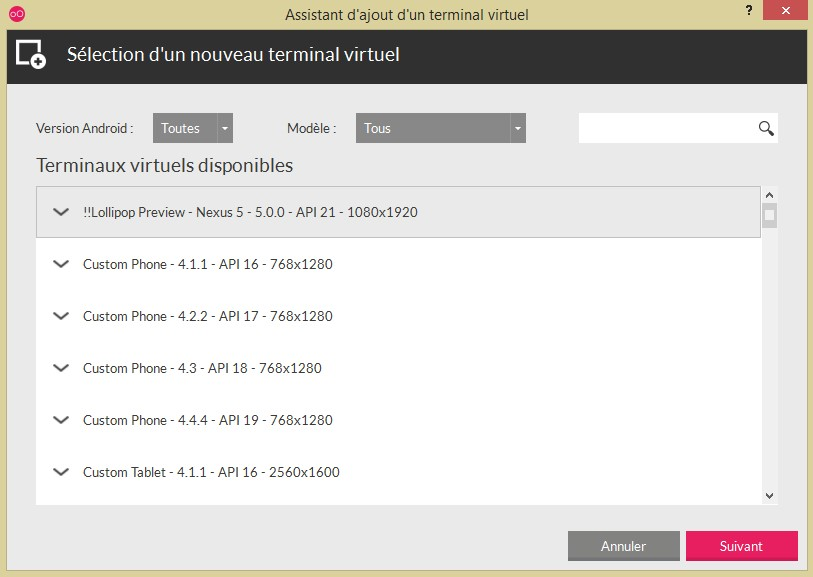 Genymotion et la liste des terminaux disponibles