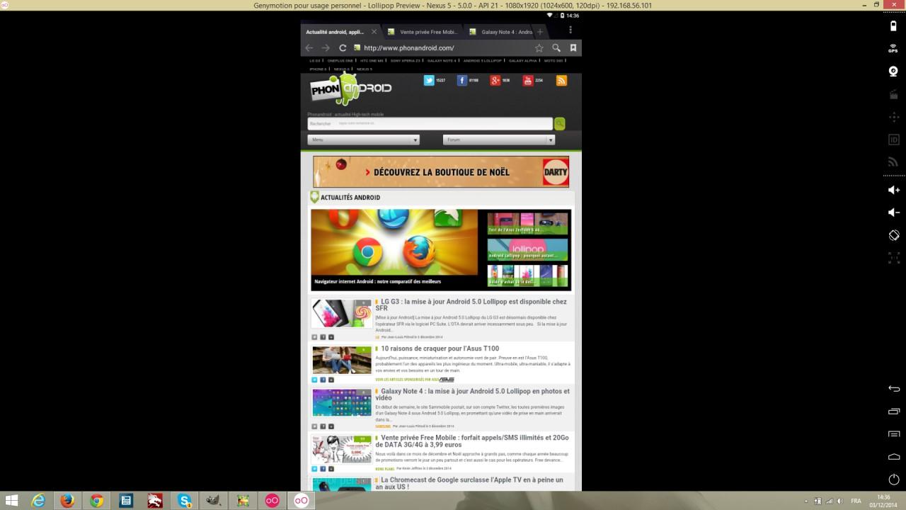 Genymotion avec le navigateur web de Lollipop