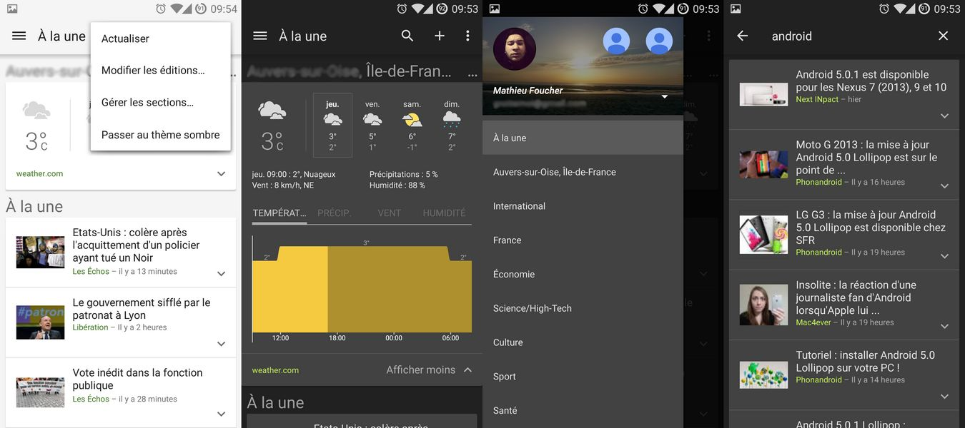 Images Application Google Actualités et Météo