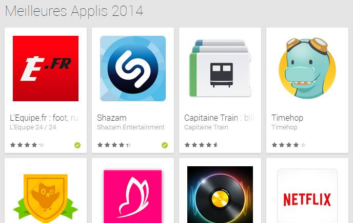Meilleures applications 2014 Google en-tête