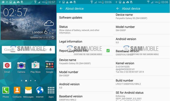 mise à jour Android 5.0 Lollipop du Galaxy S5.