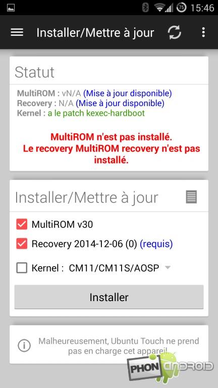 Multirom et l'installation du kernel et du recovery