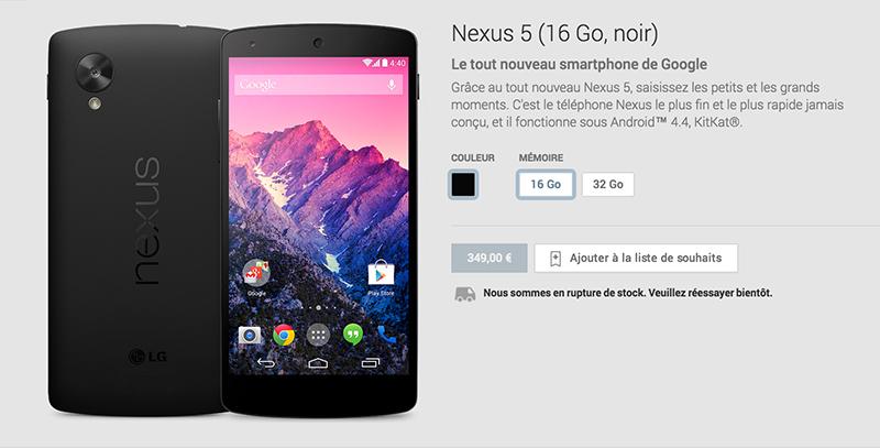 nexus 5 noir play store