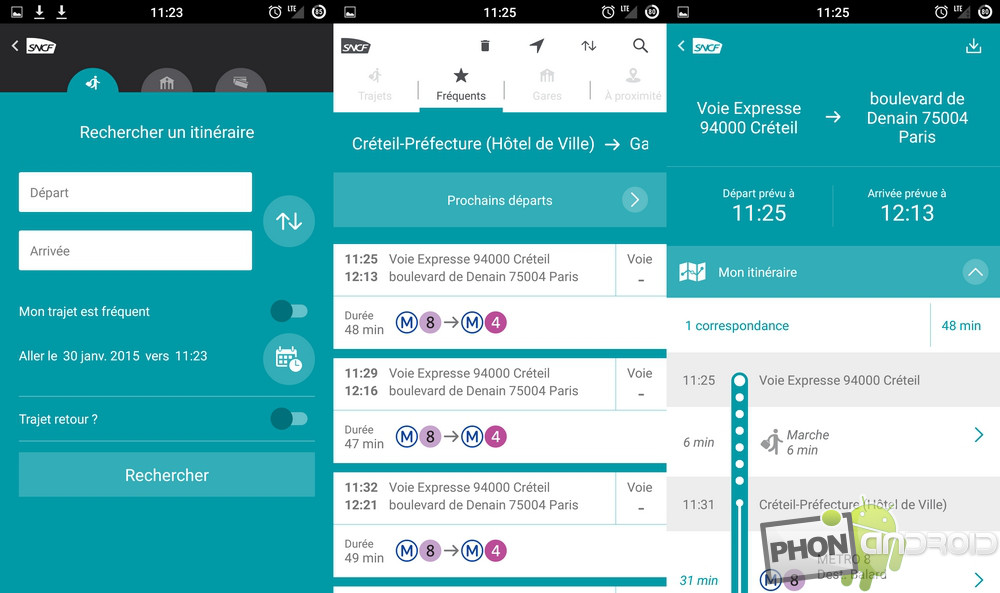 images de l'application SNCF
