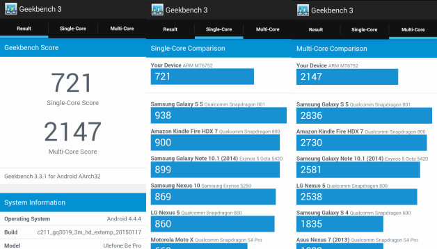 Ulefone Be Pro benchmark Geekbench