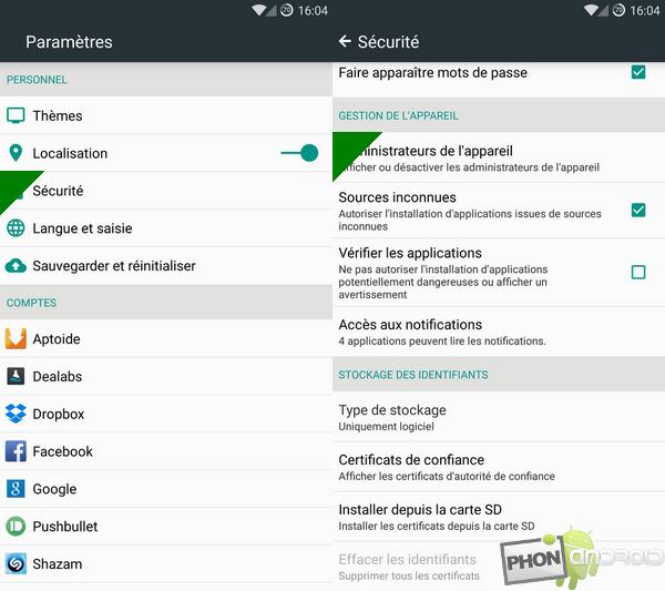 étape 1 pour activer le gestionnaire d'appareil Android