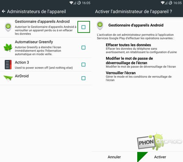étape 2 pour activer le gestionnaire d'appareil Android