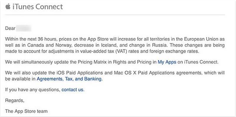 apple augmente applications taxe