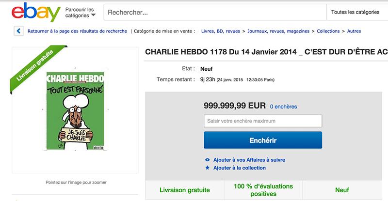 charlie hebdo revendu ebay