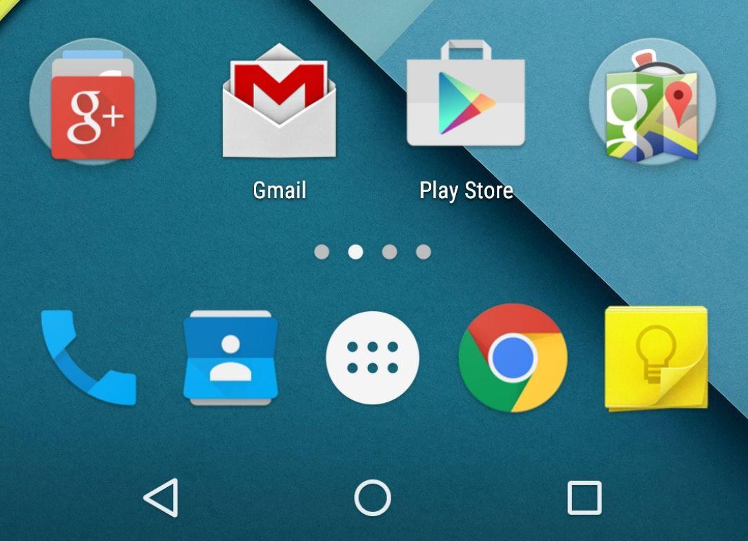 écran d'accueil Android Lollipop