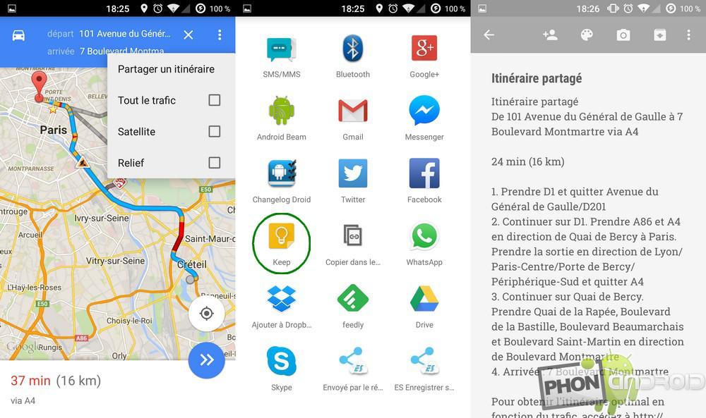 enregistrer un itinéraire google maps