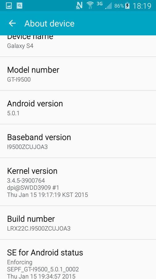 Galaxy S4 informations logicielles
