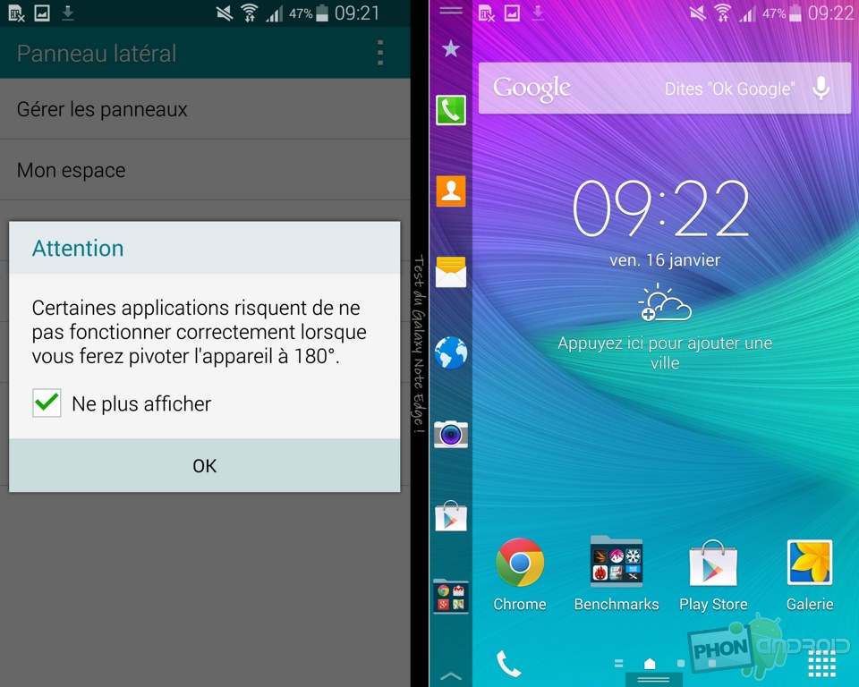 galaxy note edge panneau lateral gaucher