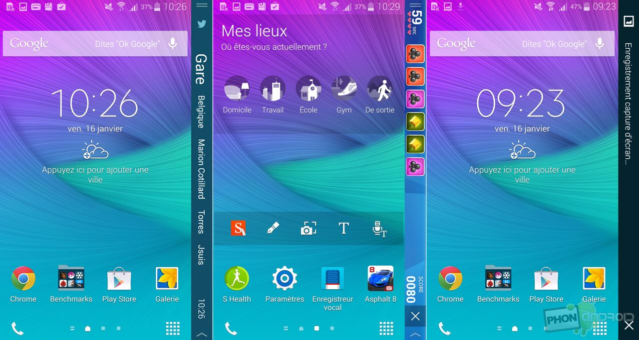 galaxy note edge raccourcis