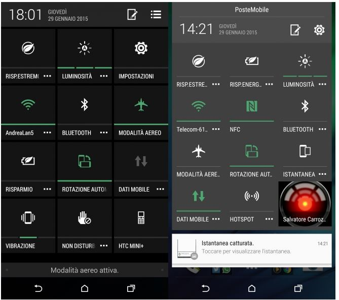 HTC One M8 Android Lollipop paramètres rapides