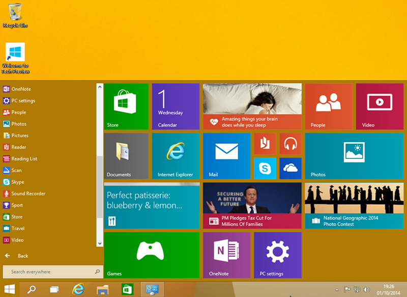 windows 10 evenement menu demarrer