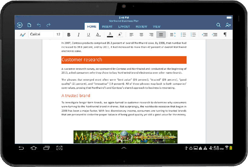 microsoft office tablette android