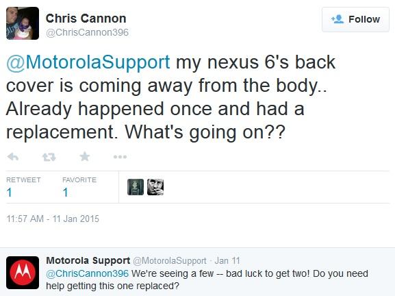 Motorola Nexus 6 Twitter