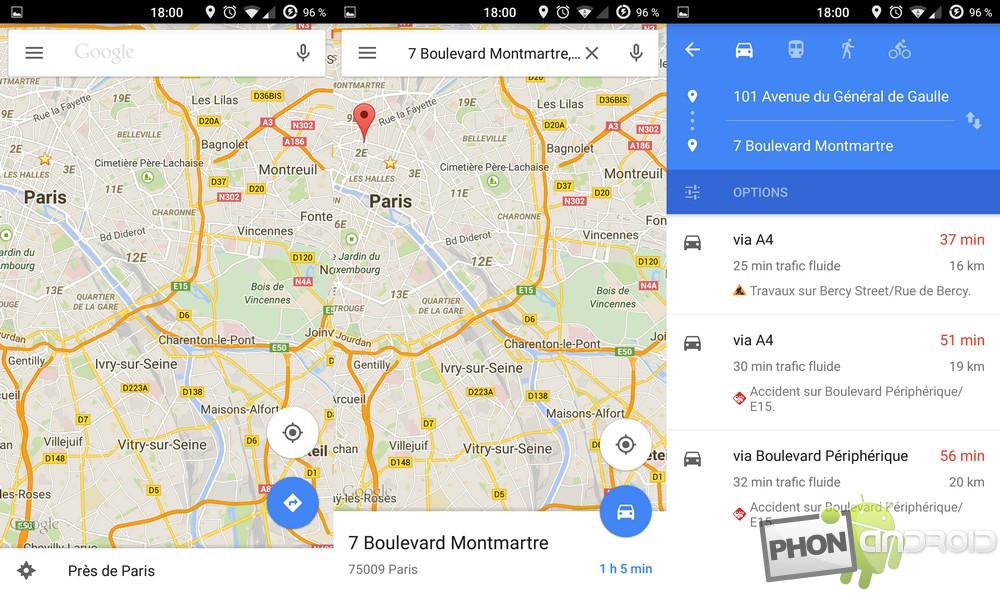 comment partager un itinéraire google maps