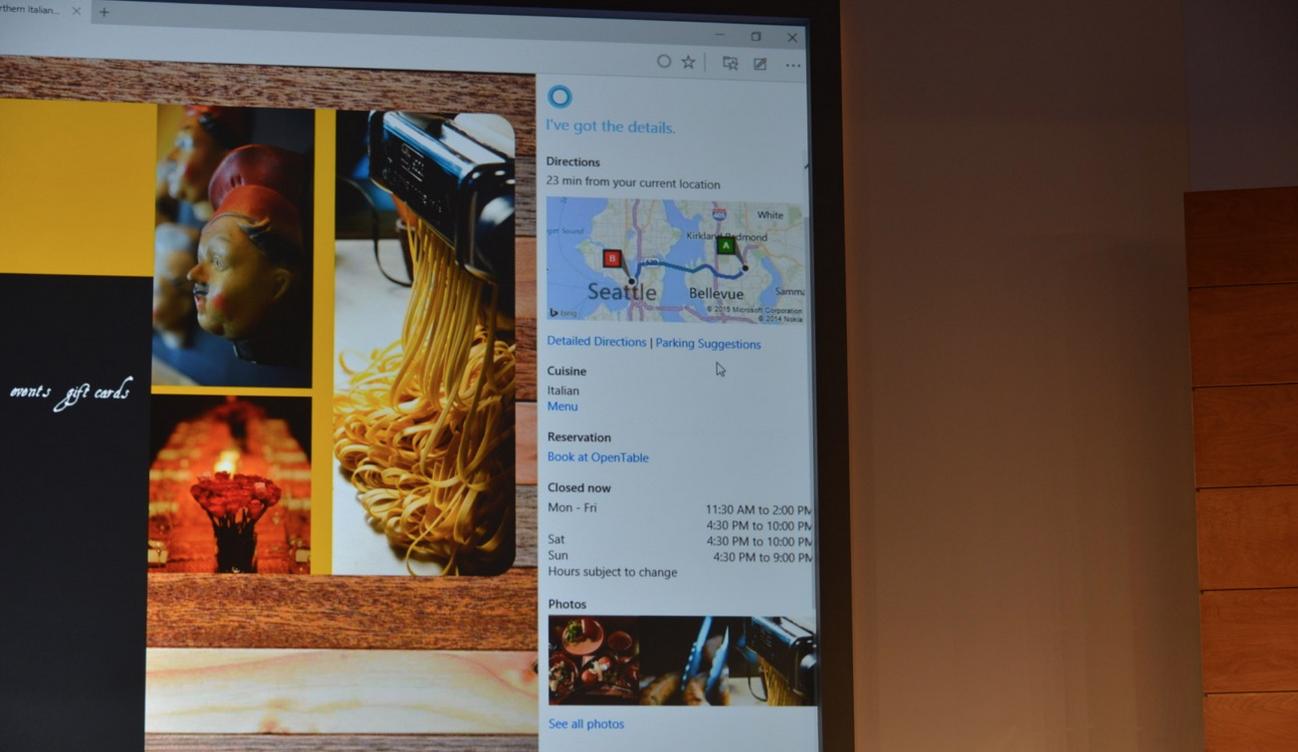 Project Spartan avec Cortana intégré