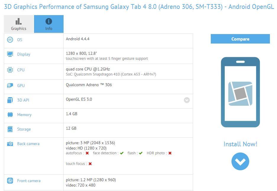 nouvelle tablette Samsung apparait en benchmark