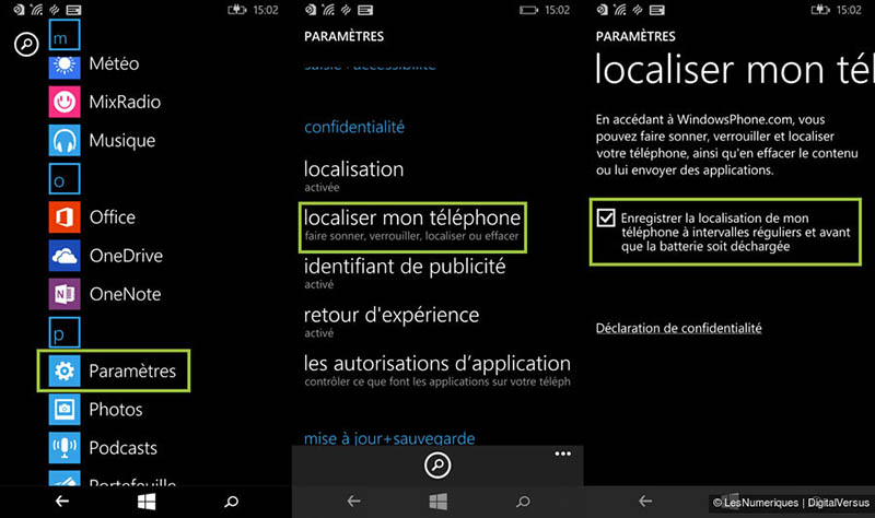 windows phone localiser mon telephone
