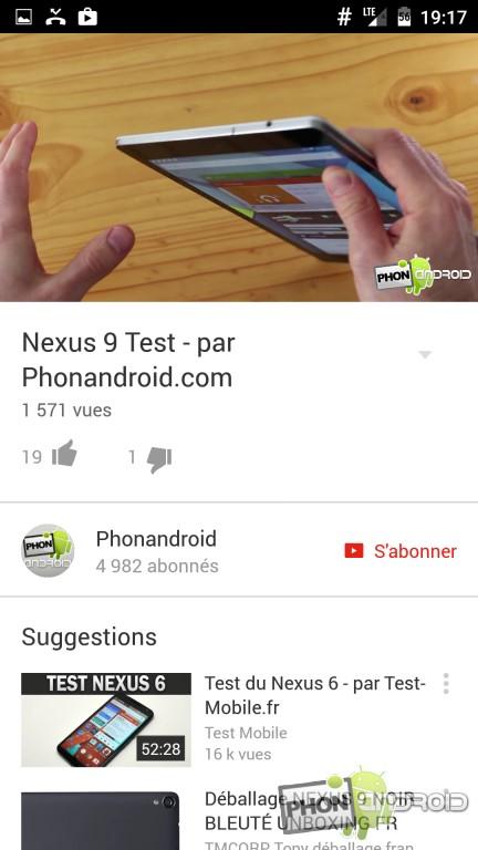 YouTube avec ExoPlayer activé