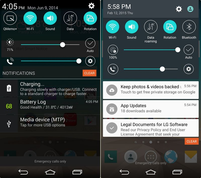 LG G3 Lollipop notifications