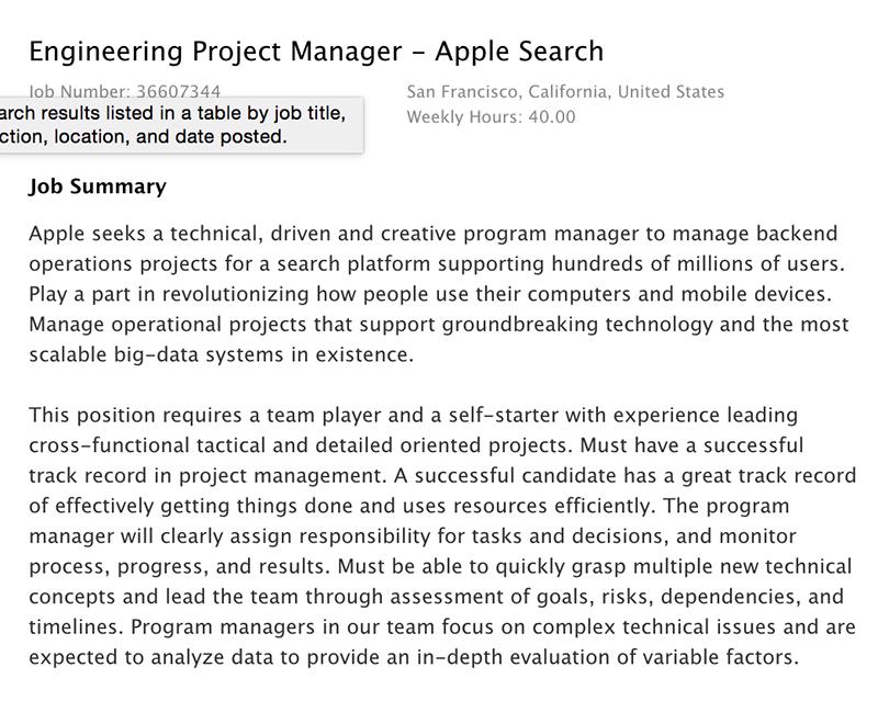 apple search offre emploi