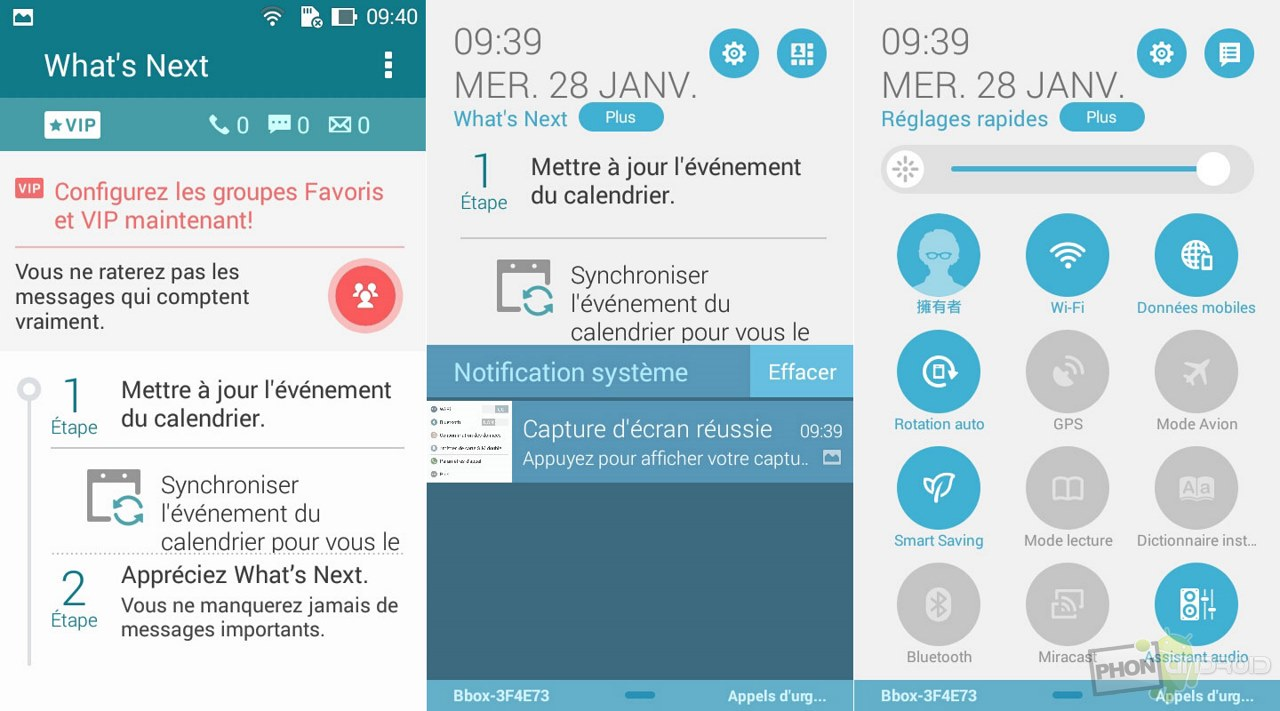 asus padfone mini notifications raccourcis