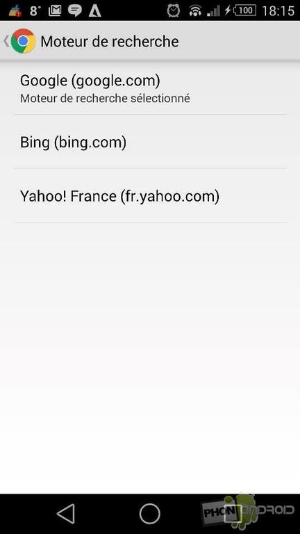 changer moteur de recherche par défaut Chrome