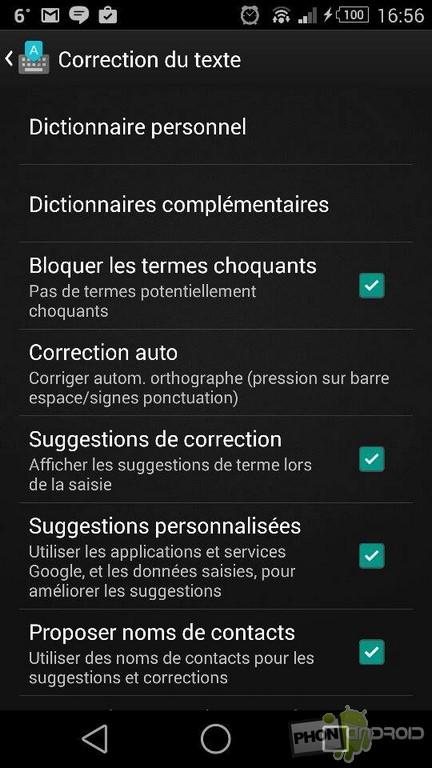 autocorrection texte clavier