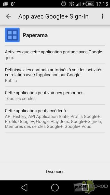 dissocier applications Google Plus
