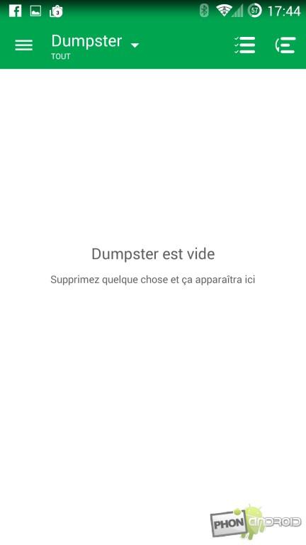 Dumpster et l'écran principal