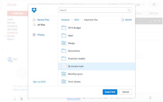 image extension dropbox pour gmail