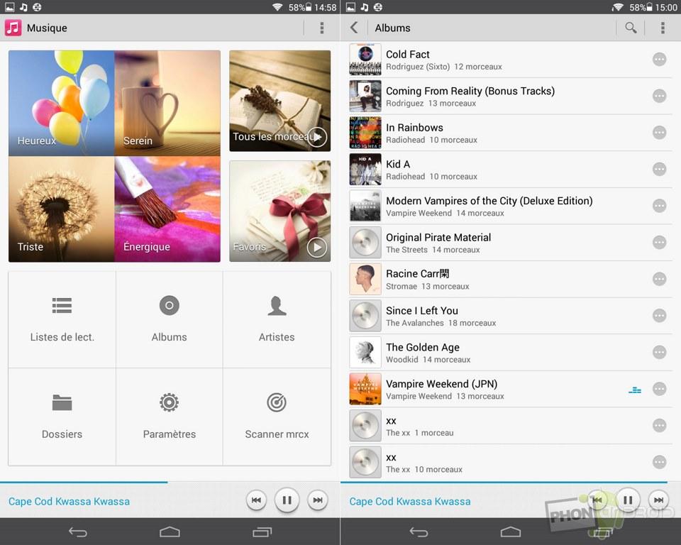 honor t1 application musique