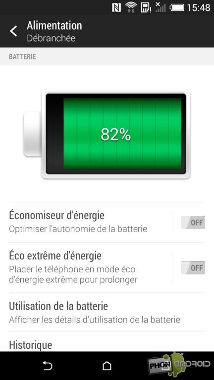 HTC Desire 820, graphique de la batterie