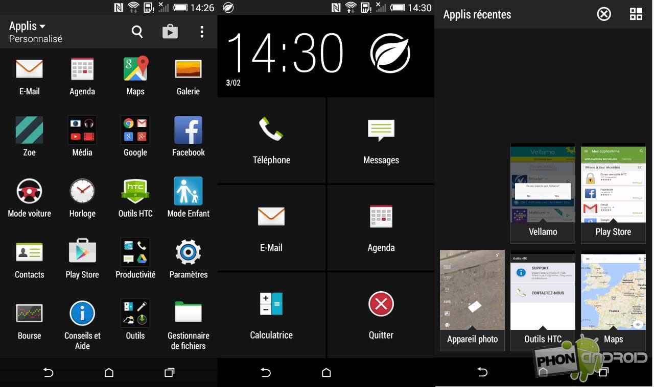HTC Desire 820, interface Sense
