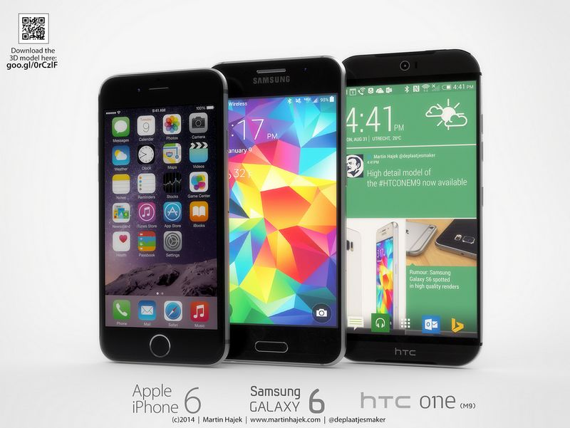 iPhone 6 vs Galaxy S5 vs HTC One M9