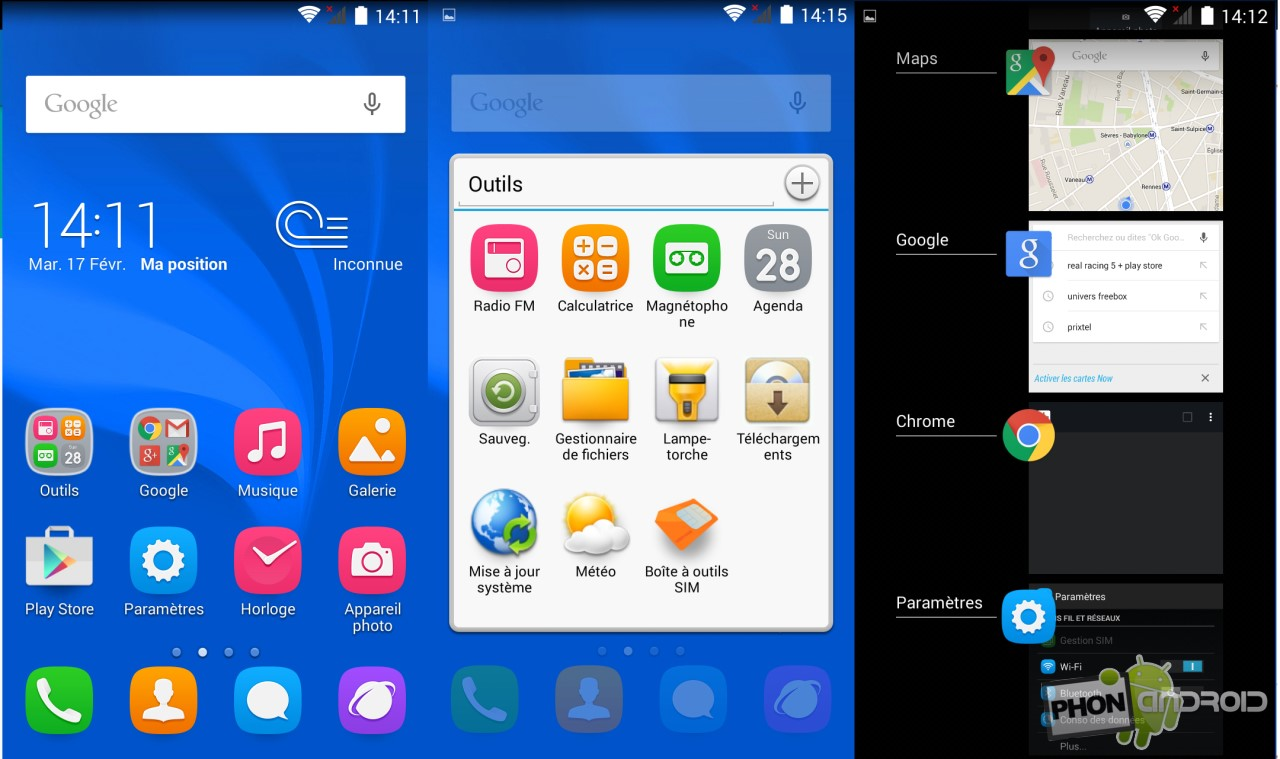 Huawei Honor Holly et l'interface des applis