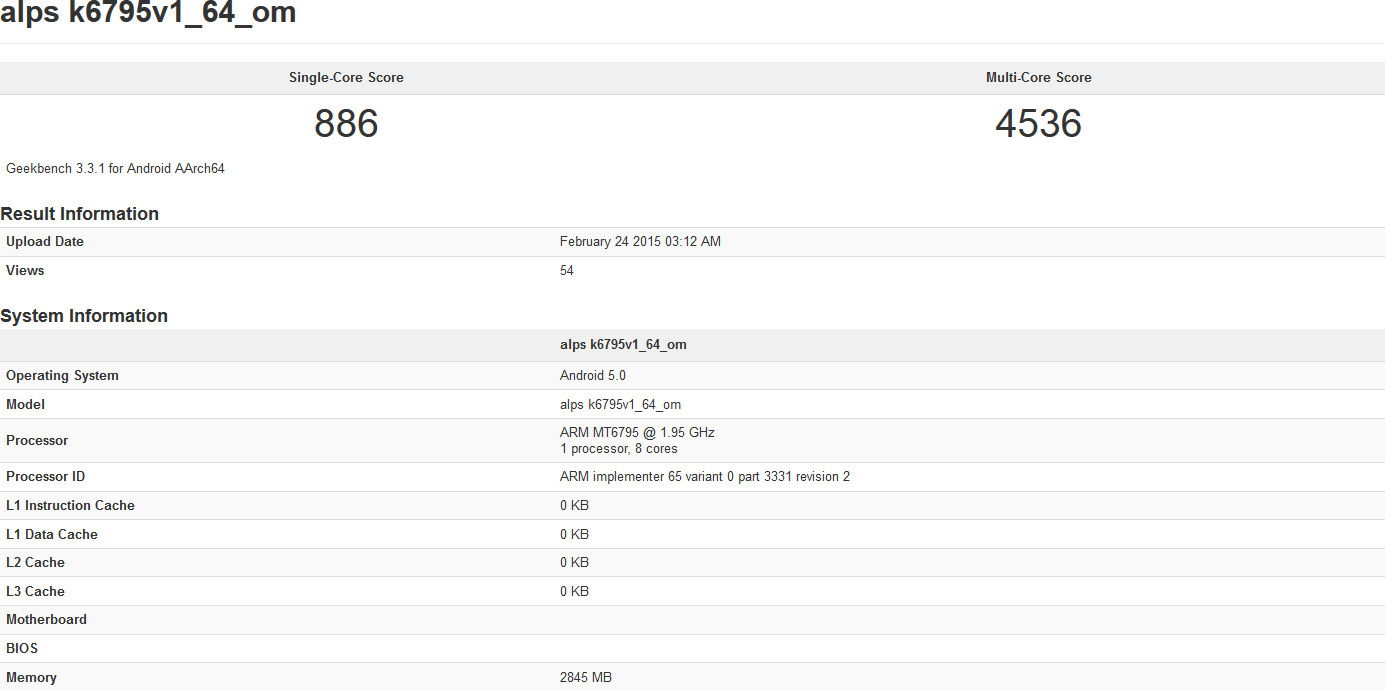 MT6795, les performances sous Geekbench