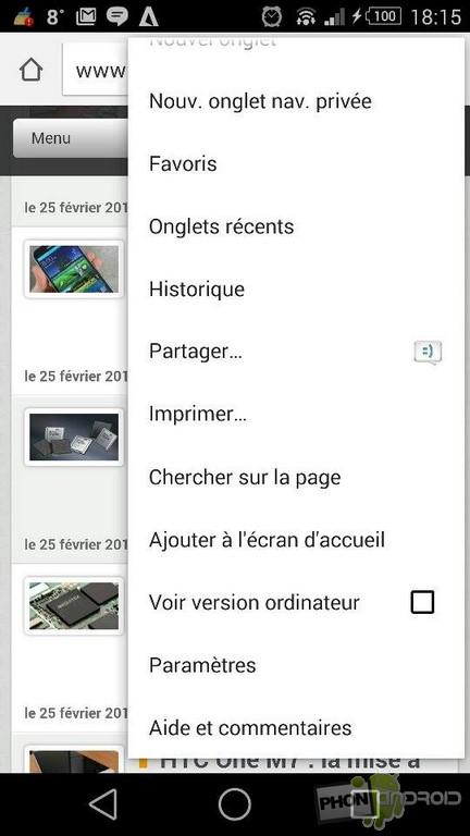 paramètres navigateur Chrome